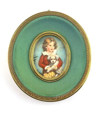 Antique Hand Painted Miniature Boy With Dog  Signed Martin