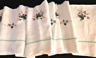 """Antique French Hand Embroidered Violet Large Linen Sheet  94 x120""""  240 x 300 cm"""