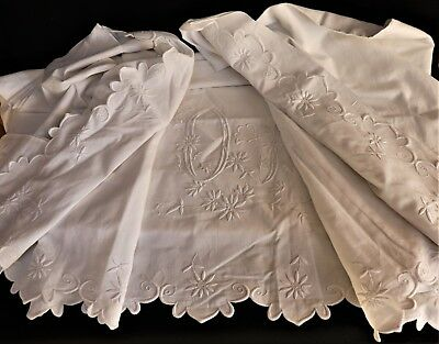 """Antique French Hand Embroidered Linen Sheet Mono """"OP""""  92 x121""""  233 x 305 cm"""