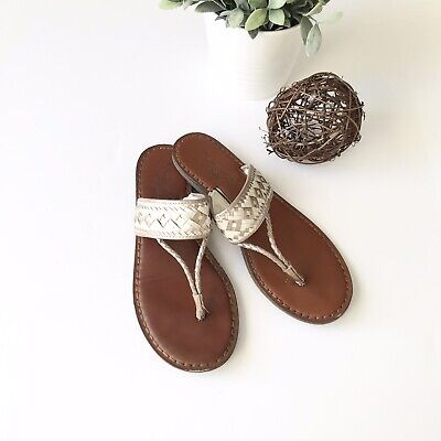 d2fa239d2 AMERICAN EAGLE OUTFITTERS Women s Size 8 Rose Gold Ivory Leather Thong  Sandals