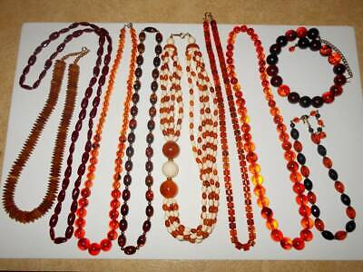 HUGE VTG FAUX AMBER BEAD CELLULOID HORN LUCITE COSTUME JEWELRY NECKLACE LOT 9pcs