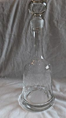 """Etched Crystal Wine Decanter Glass Stopper Weighted Bottom  Liquor 13"""" Vintage"""