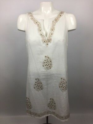 7f0584a3d2 Peppermint Bay Womens Sz S Tunic Top Sleeveless White with Gold Sequin  Cotton