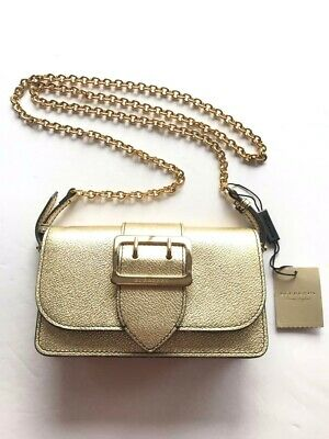 85b108388660 New BURBERRY Mini Buckle Soft Grain Metallic Leather Crossbody Bag  695