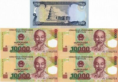 Vietnam 10000 (10,000) Dong  x 4 Notes plus Iraqi 250 Dinar, 5 Pc Set, UNC