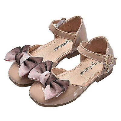 Fashion Baby Kids Girls Close Toe Bow Sandals Soft Leather Princess Party Shoes