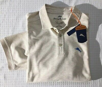b7a6b562 NWT Tommy Bahama Tan Emfielder Supima MARLIN 50 UPF Golf Shirt Men's Small