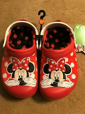 Disney Minny Mouse Kids Lined Crocs Clog Assorted Sizes