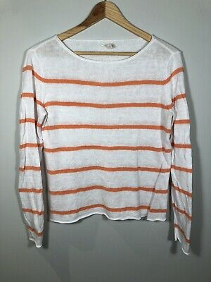 3487db912e Eileen Fisher Womens Sweater White Orange Striped Long Sleeve 100% Linen  Sz. XS