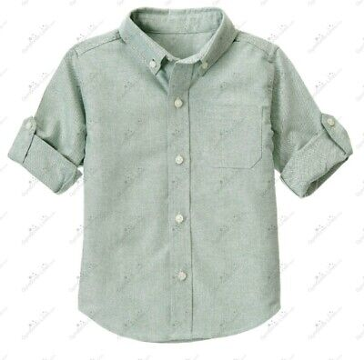 Janie and Jack Baby Toddler Boys Button Down Green Shirt sz 12-18 Months, Easter