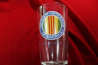 Vietnam Veterans Of America Water/Beer Glass, Iowa State Council,  6 Inch Tall