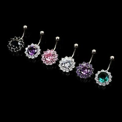 Button Surgical Steel  Crystal Flower Jewelry Belly Navel Ring Body Piercing