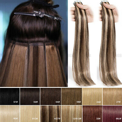 8A CLEARANCE Tape In Remy Real Human Hair Extensions Fusion Skin Weft Thick Glue