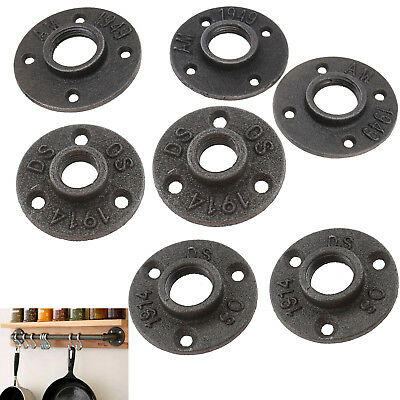 Malleable Threaded Floor Flange Iron Pipe Fittings Wall Mount Black 3 Sizes