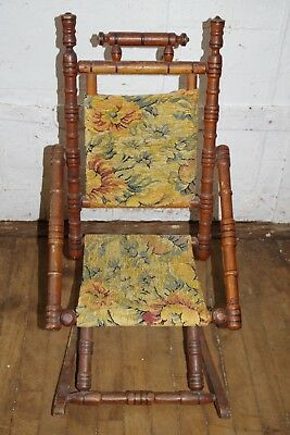 Antique Wood Childs Rocker Rocking Chair Chenille Floral Fabric Spool Spindle