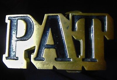 NICE! Vintage 1970s Pat Belt Buckle Cut-Out Name Solid Brass