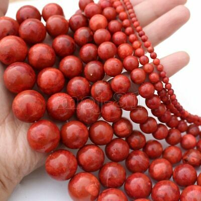 """6MM-24MM Genuine Natural Red Grass Coral Round Gemstone Loose Beads 15"""" AAA"""