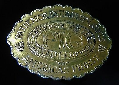 Vintage American Police Law & Order PIG Metal Belt Buckle Patience Integrity Gut