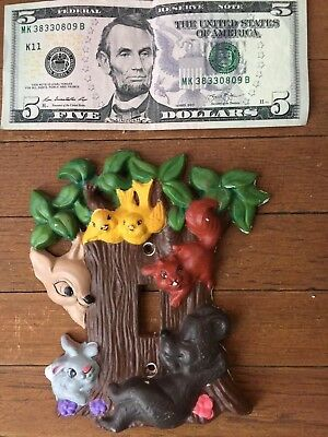 Bambi Thumper Bear Squirrel Birds Ceramic Hand Painted Kids Light Switch Cover