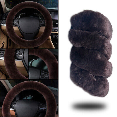 38cm Plush Fluffy Steering Wheel Cover/Glove Winter Warm Protector Cover Black