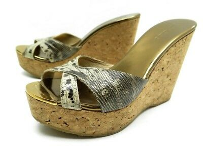 483cf61580e Chaussures Jimmy Choo 39 Sandales Talons Compenses Cuir Python Mules Shoes  650€