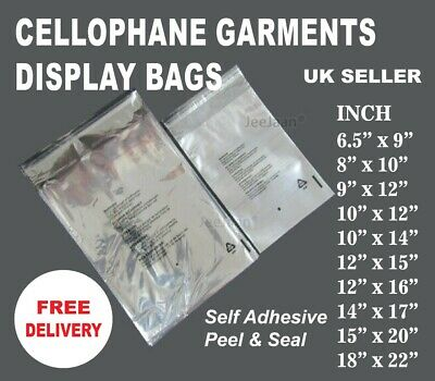 Cellophane Clear Cello Bags Display Garment Self Adhesive Peel&Seal Plastic Opp