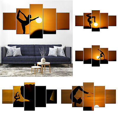 Yoga Silhouette Sunset Canvas Print Painting Framed Home Decor Wall Art Poster