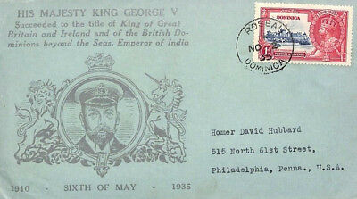 BH9 1935 DOMINICA KGV SILVER JUBILEE Roseau *Illustrated Cover* USA ROYALTY