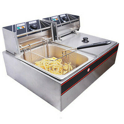 5000W 12L Commercial Electric Heavy Duty Dual Tank Stainless Steel Deep Fryer
