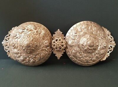 ANTIQUE Ottoman Balkan jewelry Hand-forged and engraved silver alloy belt buckle