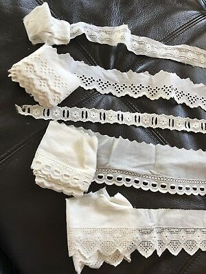Antique French Embroidery Trims Edging Border 11 Yards For Costume Sewing Home