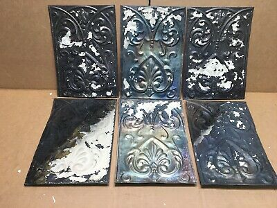 """6 pc Lot 11"""" by 8"""" Antique Ceiling Tin Metal Reclaimed Salvage Art Craft"""