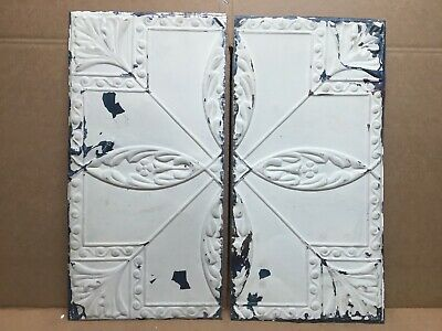 """2 pc Lot 24"""" by 12"""" Antique Ceiling Tin Metal Reclaimed Salvage Art Craft"""