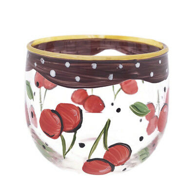 Hand Painted Cherry and Polka Dot Themed Candle Holder / Juice Glass Cherries