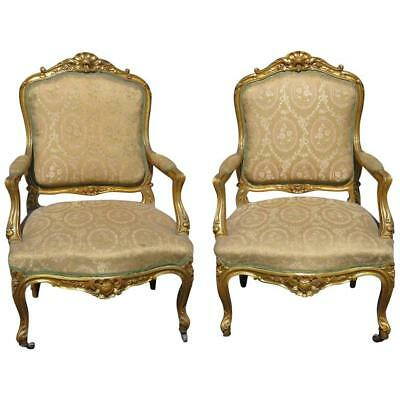 Pair of Louis XVI Style Gilt Carved Upholstered Fauteuils