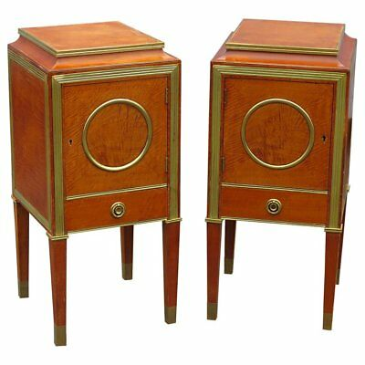 Fine Pair Brass Trimmed Satinwood Russian Baltic Night Stands NightStands Tables