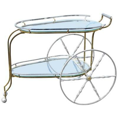 Incredible Italian Made Brass & Chrome BIG WHEEL Glass Top Tea Serving Cart