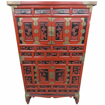 Fine Antique 1890s Antique Chinese lacquer Asian Wedding Chest Cabinet