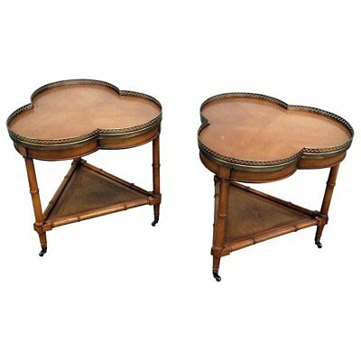 Pair of American of Chicago Faux Bamboo Side Tables
