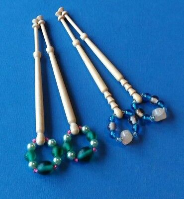 2 Pairs of Light Wooden Lace Bobbins With Spangles