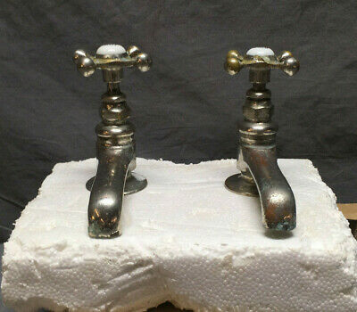 Antique Pair Nickel Brass Separate Hot Cold Bath Sink Faucets Vtg Old 20-19Lr