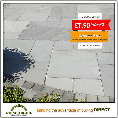 Kandla Grey Indian Sandstone Paving Patio Slabs flags stone £11.90 LOWEST PRICE!