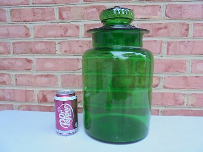 Extra Large Vintage Green Blown Glass Apothecary Jar w Daisy Lid 14 1/2""