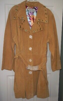 NEW Bradley Bayou 2X Womens Leather Suede Trench Jacket Coat GOLD GROMMET 2XL