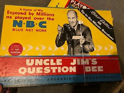 Vintage 1938 - 1940 Uncle Jim's Question Bee Game - Very Old - NBC Blue Net Work