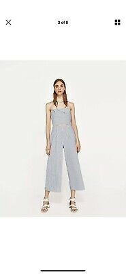 0b7ae2357e85 ZARA NEW STRIPED Jumpsuit With Bow Playsuit Shorts Navy Blue White ...