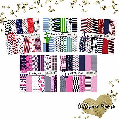 Nautical Scrapbook Papers Preppy Classic Nautical Pink Blue Red White Navy