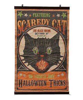 "Bethany Lowe Halloween Large 37"" Scaredy Cat Scroll LO7208 Black Cat New"