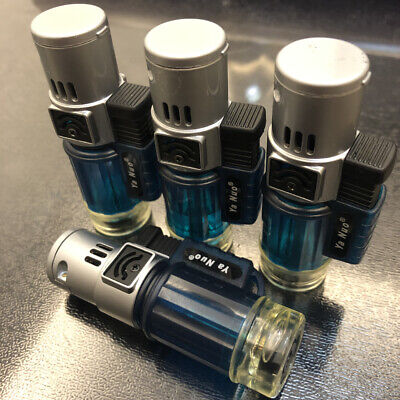 4 x Triple Jet Torch 1300F Flame Windproof Butane Refillable Lighter Blue