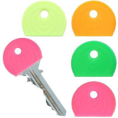 8 x NEON KEY COVER CAPS Fluorescent Bright Colour Door Safe Lock ID Tag Marker